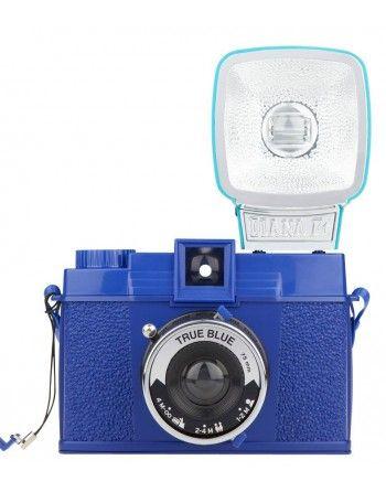 Lomography Diana F+ Blue True aparat fotograficzny z lampą na film 120, z funkcją pinhole